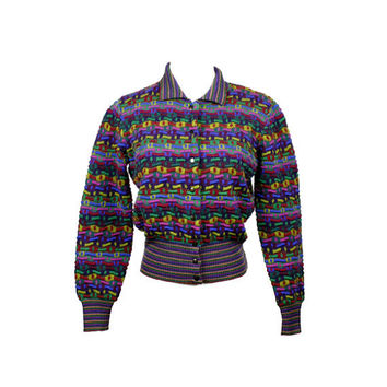 70s sweater / vintage 1970s cropped sweater / cardigan / striped / multi color / rainbow print / hipster sweater / size S M