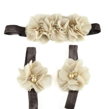 Barefoot Blossoms & Matching Headband Mocha Brown