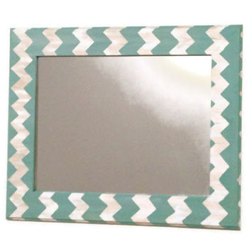 Seafoam chevron mirror, teal and cream wall mirror
