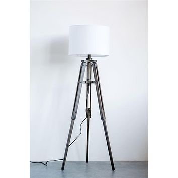 Mariner Wood Tripod Floor Lamp Black Finish with Cotton Shade -- 62-1/4-in