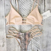 Sexy Hollow Snake Print Swimwear Bikini Swimsuit