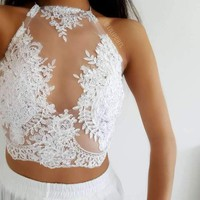 Pure LILIPEARL handmade lace bralet
