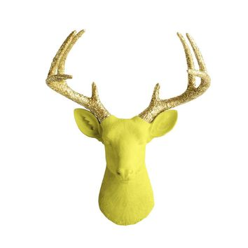 The Virginia | Large Deer Head | Faux Taxidermy | Yellow + Gold Glitter Antlers Resin
