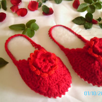 Red Slippers Women Flower Warm 9 1/2 Inches by LoveYewDesigns