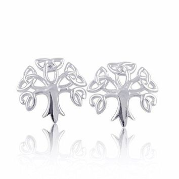 Sterling Silver Celtic Tree of life Triquetra Stud Earrings
