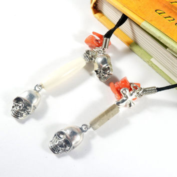 Skull Charm Black Book Thong Halloween Gifts Book Accessories Suede Bookmark Book Bling Book Lover Gift Goth Gift Book Mark Stocking Stuffer