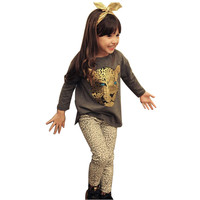 Retail 2016 winter Girls Clothing Sets baby Leopard Print children clothing kids clothes full sleeve T shirt+legging 2piece/set