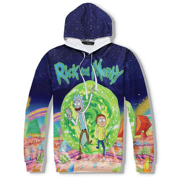 Anime Fashion Men/Womens 3d Sweatshirts Rick And Morty 3d Pant Sets Cartoon Hooded Hoodies