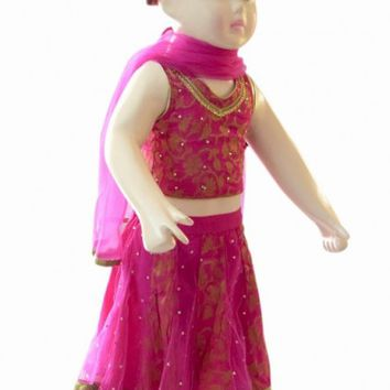 Shop Online Magenta Pink Ethnic Lehenga Dress for Newborn Baby Girls