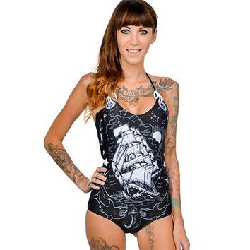 """Tattoo"" Skelly Monokini by Too Fast Apparel (Black)"
