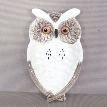 Vintage Owl, 1970's Enesco Owl Spoon Rest, Mid Century Kitchen