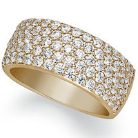 Arabella 14k Gold over Sterling Silver Ring, Swarovski Zirconia Pave Band - Rings - Jewelry & Watches - Macy's