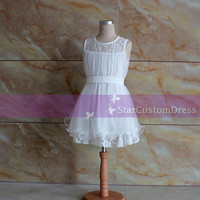 Simple Ivory Flower Girl Dress Lace Flower Girl Dress with for weddings kids party dresses for girls