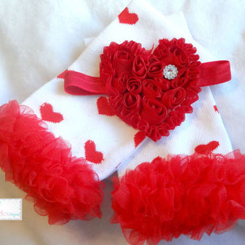 Heart Ruffle leg warmers set, Leg Warmers and headband set, Valentines set, girls leg warmers, baby leg warmers