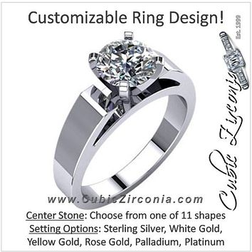Cubic Zirconia Engagement Ring- The Sherri (Customizable Wide Band Cathedral Solitaire)