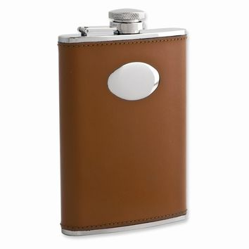 Brown Leather Stainless Steel Flask with Funnel - Engravable Gift Item