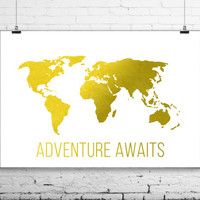 Travel Quote World Map Print - Travel Nursery Art Print Poster-Adventure Awaits-Gilded Office Decor-Girly Minimalist Art-Imitation Gold Leaf