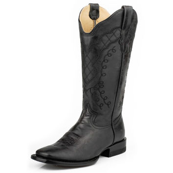 Stetson Black Fawn Wide Square Toe Cowgirl Boots
