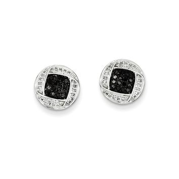 Black & White Diamond 11mm Circle Sterling Silver Screw Back Earrings