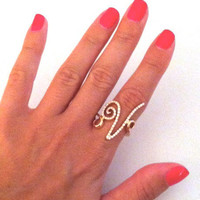 Alphabet V Ring Custom Initial Rose Gold and Diamond by busebb