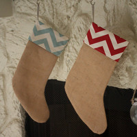 Burlap Christmas Stocking with Blue and White Chevron Stripes or Red and White