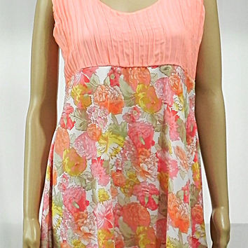 Peach Dress Floral Dress - Long Knee Length Dress Sleeveless Dress with PinTucks - Gathered Floral Tunic Fashion Clothing for Woman