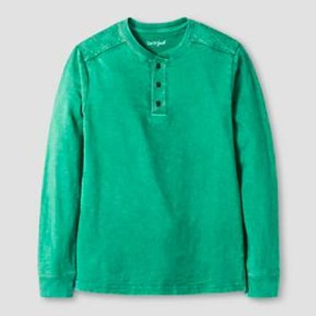Boys' Long Sleeve Henley Tee Shirt Cat & Jack™ - Green : Target