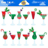 Christmas Cocktails Digital Clipart. Christmas Cocktails Clip Art. Christmas Clipart. Christmas Cocktails Clipart. Xmas Clipart. Xmas Vector