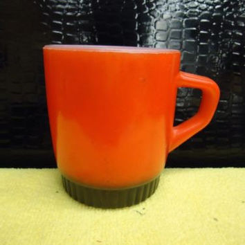 VINTAGE FIREKING ORANGE STACKING COFFEE MUG FIRE KING ANCHOR HOCKING