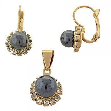 Gold Layered 10.150.0027 Earring and Pendant Adult Set, Ball Design, with  Pearl, Gold Tone