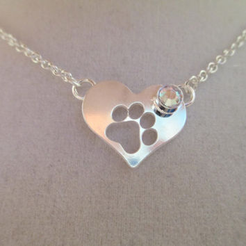 swarovski necklace, heart, paw  pendant, silver, aroura borealis, designer inspired, dog,cat, pet