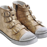 Amiana Shoes Girls Sneakers Gold High Tops