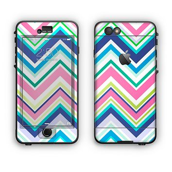 The Vibrant Colored Chevron Pattern V3 Apple iPhone 6 Plus LifeProof Nuud Case Skin Set