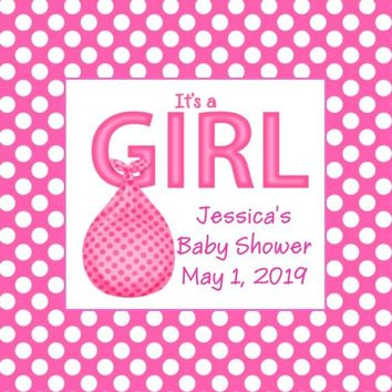 Its A Girl Baby Shower Favor Tags