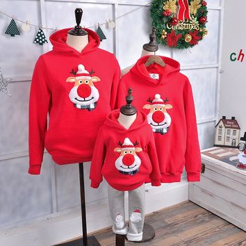 Family Matching Outfits 2017 Winter Christmas Sweater Cute Deer Children Clothing Kid T-shirt Add Wool Warm Family Clothes P003