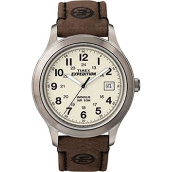 Timex Expedition® Metal Field Full-Size Watch - Creme Dial/Brown Leather