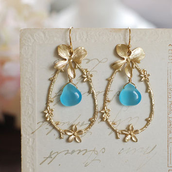 Matte Gold Flower Twig Hoop Earrings. Blue Cats Eye Gold Flowers and Gold Tree Branch Twig Earrings. Gold Orchid Large Gold Hoop Earrings