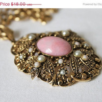 Avon Pink Stone and Seed Pearl Vintage Necklace