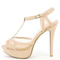 Anne Michelle Safe-09 Nude Mesh T Strap Heels | MakeMeChic.com