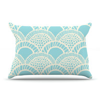 "Suzie Tremel ""Heathered Scales"" Blue Tan Pillow Case"