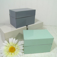 Collection of 4 Vintage Pastel Metal 5 x 3 File Boxes - Off White, Grey & Sea Foam Blue BoHo Industrial 3 x 5 Recipe Card Holders Set of 4