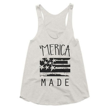 Merica Made racerback tank, American, Patriotic, Graphic Tee, July 4th, Fourth, summer, camping, beach, vacation, party, celebration
