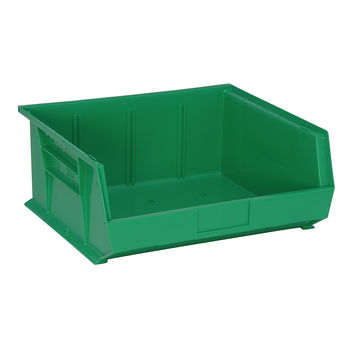 Quantum QUS250 Plastic Storage Stack And Hang Bin 14-3/4 x 16-1/2 x 7, Green - Pack of 6