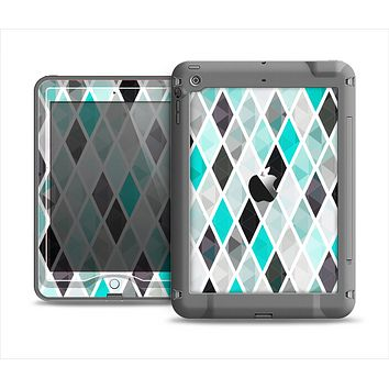 The Graytone Diamond Pattern with Teal Highlights Apple iPad Mini LifeProof Nuud Case Skin Set