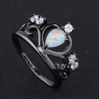 2017 New Crown Black Gold-color Elegant Engagement White Fire Opal Ring With AAA+ CZ Zircon Best Gift Wedding Ring White Opal