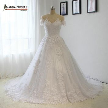 Short Sleeve Lace Appliques Sequin Beading Pearls Low Back Wedding Dress