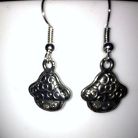 SALE: Silver Mushroom Charm Earrings