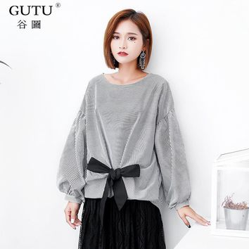 [GUTU] 2018 Autumn New Korean Long Lantern Sleeves Round Collar Vertical Stripes Bow Tie Pullover Shirt Woman EA06101