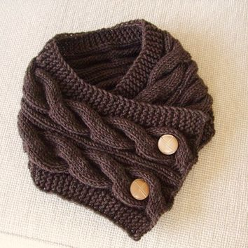 Winter Trend .Rustic Trend / Hand knit Neck Warmer / Cowl in brown color