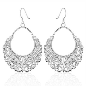 925 Sterling Silver Dangle Chandelier Hoop Pierced Earrings L158
